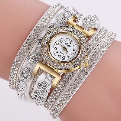 New Fashion Womens Stainless Steel Watch Bling Rhinestone Bracelet Wrist Watch