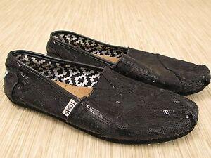 98d717b27166 Toms Black Sequin Shoes Women's US 8 W Glittery Classic Slip-On ...