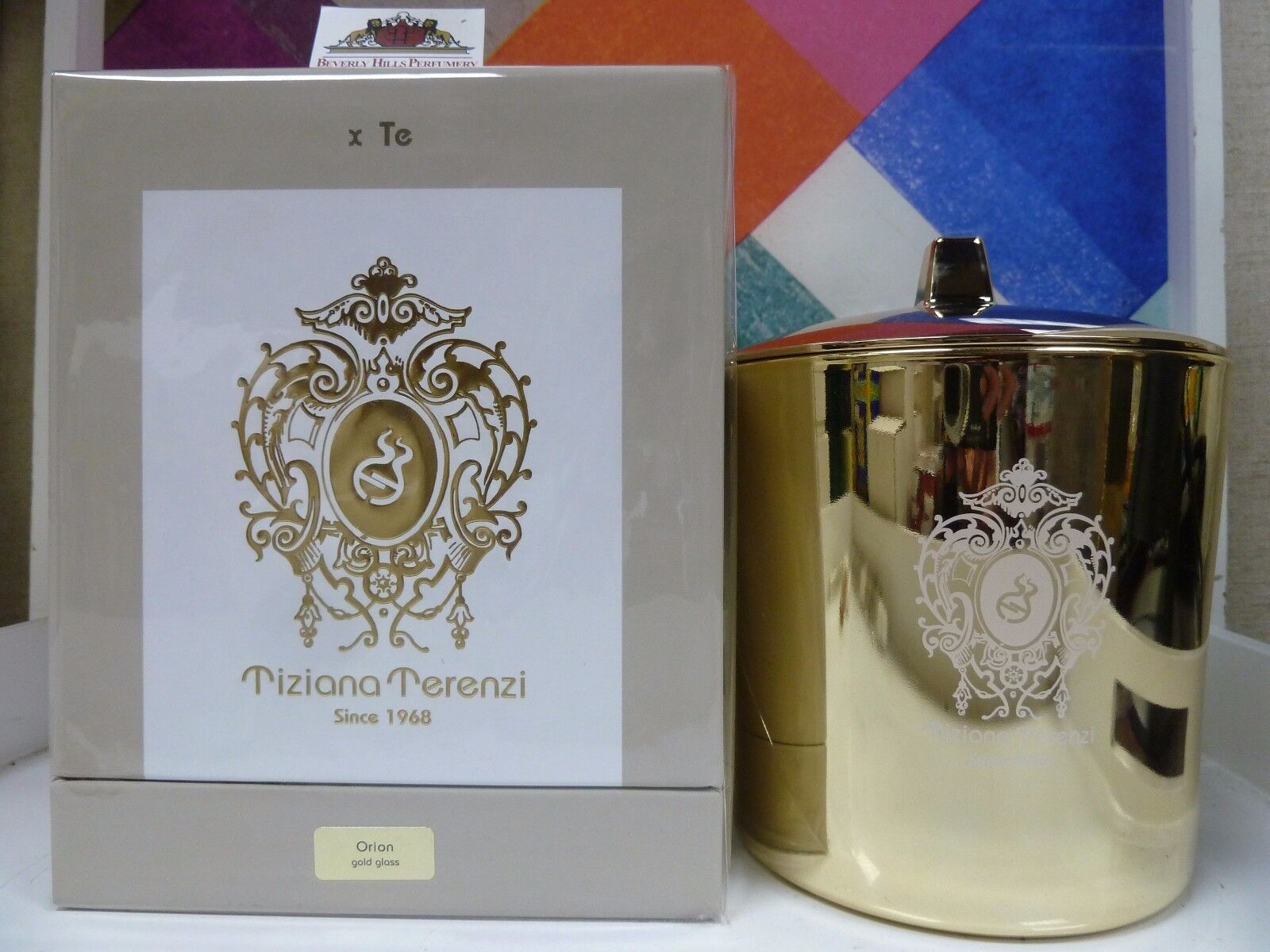 TIZIANA TERENZI ORION gold GLASS SCENTED CANDLE 35.3 OZ   1000 G NEW, SEALED