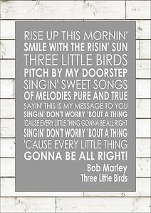 Three little birds bob marley lyrics song verse print canvas wall typography ebay - Bob le bricoleur paroles ...