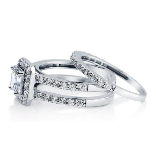 Sterling Silver .925 CZ Princess Cut Engagement Ring Wedding Band Set Size 5-10