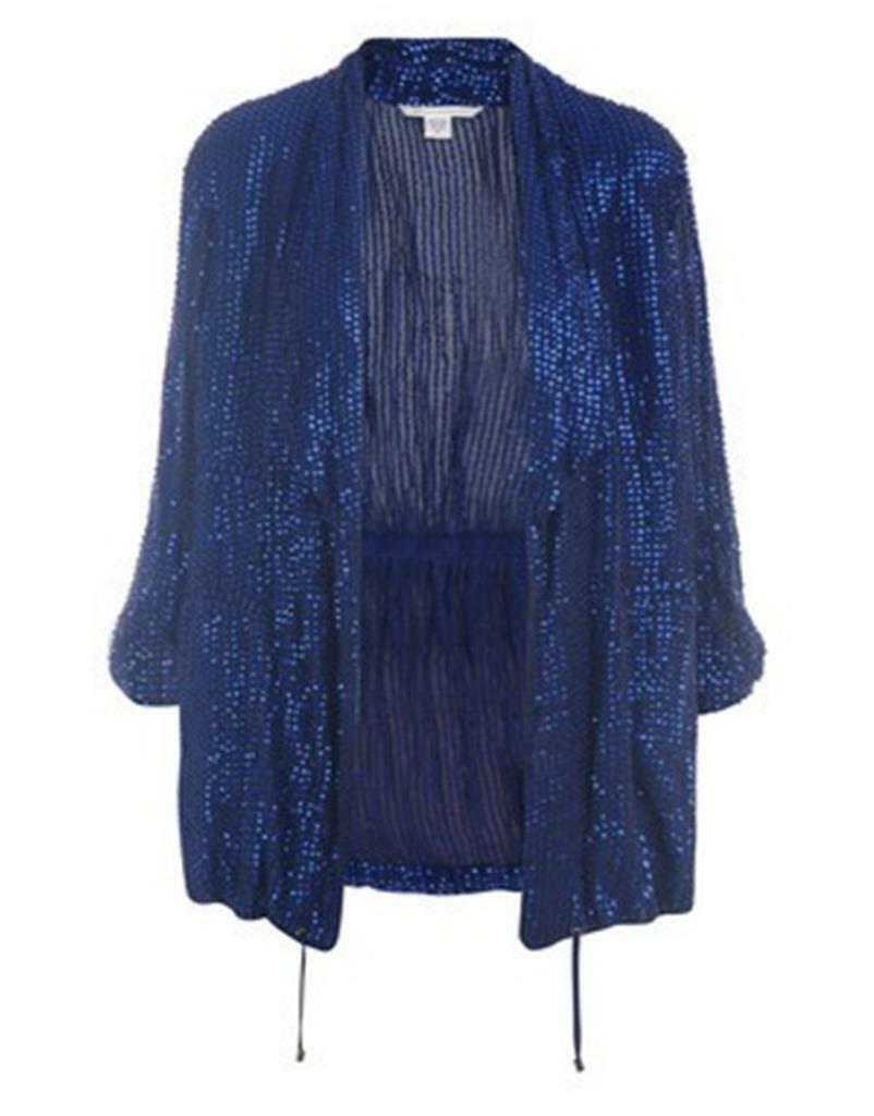 DVF Diane Von Furstenberg Brady chaqueta blazer  top con lentejuelas adornado  545  mejor moda