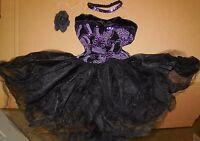 NWT Short Tutu ballet costume purple Glittered Organdy Ch/Plus szs sequin choker