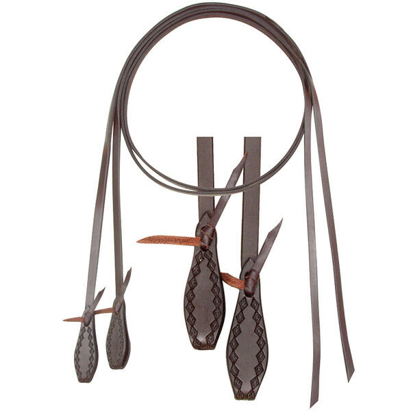CASHEL TRAIL LEATHER SPLIT REINS DIAMOND BORDER TOOLING - SA-CTSR