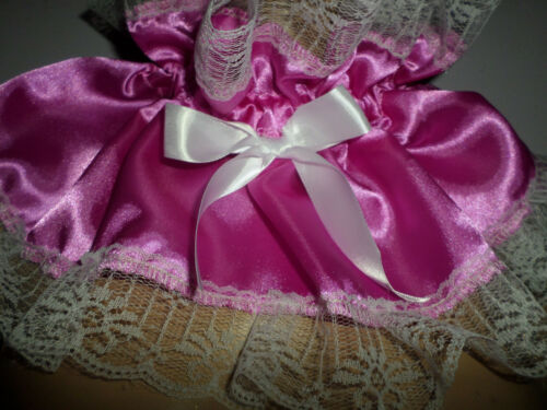ADULT BABY FRILLY  DEEP PINK SATIN   SISSY COLLAR  WHITE LACE TRIM SATIN  BOWS