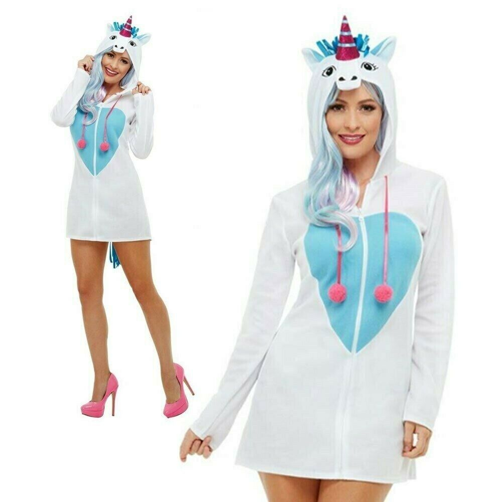 Adult Ladies Unicorn Costume Fairy Tale Mythical Adults Fancy Dress Outfit + Hoo
