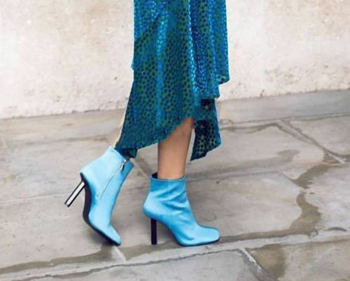 ZARA SKY blueE FABRIC PIN HIGH HEEL ANKLE BOOTS SIZE USA 8