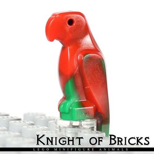 LEGO Minifigure Animal GREEN Bird Parrot with Wide Beak and Tail Marbled Red