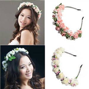 Women Flower Headband Crown Bridal Hairband Wedding Garland Wreath Party Prom