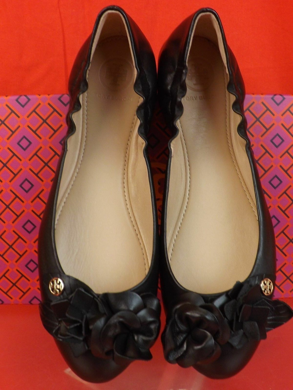 NIB TORY BURCH BLOSSOM BLACK FLOWERS LEATHER LEATHER LEATHER gold REVA BALLET FLATS 7 982fa0