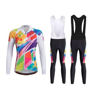 d58c39f21 Women s Winter Cycling Gear Long Sleeve Jersey   Padded Bib Pants ...