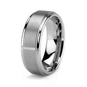 tungsten mens brushed carbide 8mm silver wedding band ring
