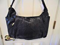 Oryany Emma Anaconda Leather Shoulder Bag black