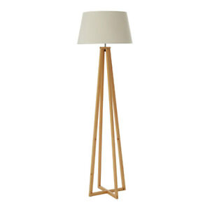 Breton Floor Standard Standing Lamp Wood Base Fabric Shade Modern