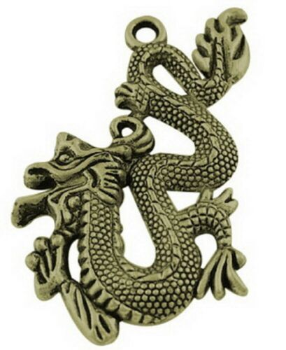 LF1452YKG 5-10x Antique Silver Alloy Pendants Chinese Dragon Finding Craft