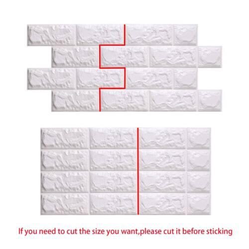 10X 60*60cm 3D Tile Brick Wall Sticker Self-adhesive Waterproof Foam Panel White