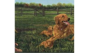 Labrador-and-Puppies-on-a-Farm-Extra-Large-13-5-034-Wallpaper-Border-HB2032B