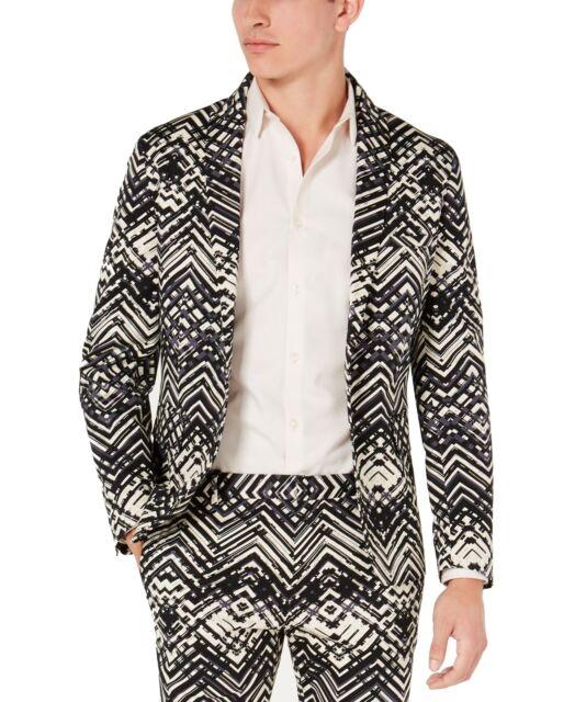 INC Mens Sport Coat Black Size 2XL Printed Slim Fit Notched Collar $129 #175