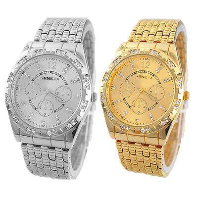 Luxury Men Diamond Metal Band Crystal Analog Quartz Fashion Wrist Watch Reliable