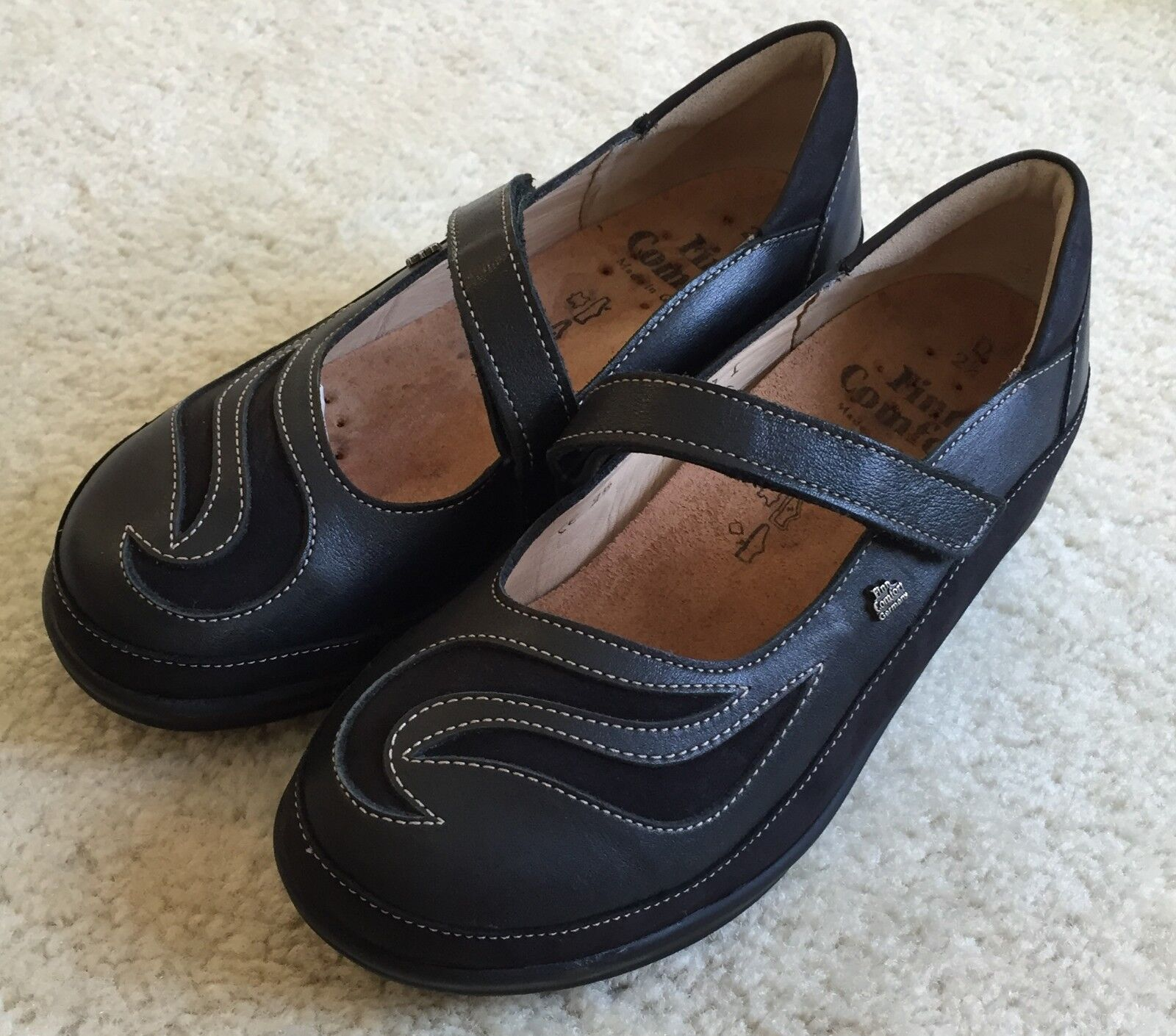 Women's Finn Comfort Black Glendale Leather Leather Leather Mary Jane shoes Flats 2.5   4.5 M 0c1b01