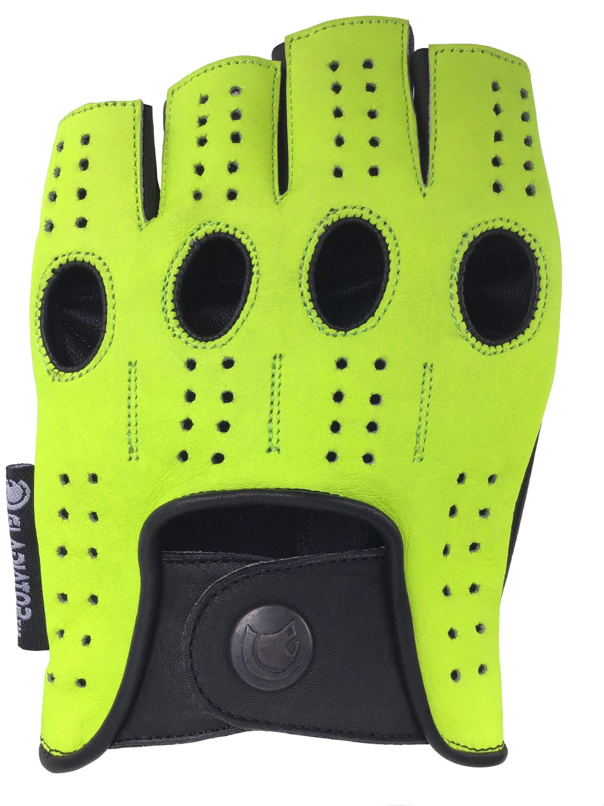 MEN'S GREEN LEATHER FINGERLESS DRIVING MOTORCYCLE BIKER GLOVES Work Out Exercise