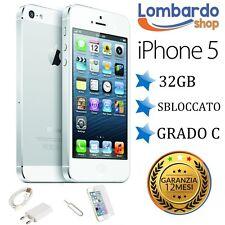APPLE IPHONE 5 32GB BIANCO GRADO C ORIGINALE RIGENERATO RICONDIZIONATO ACCESSORI