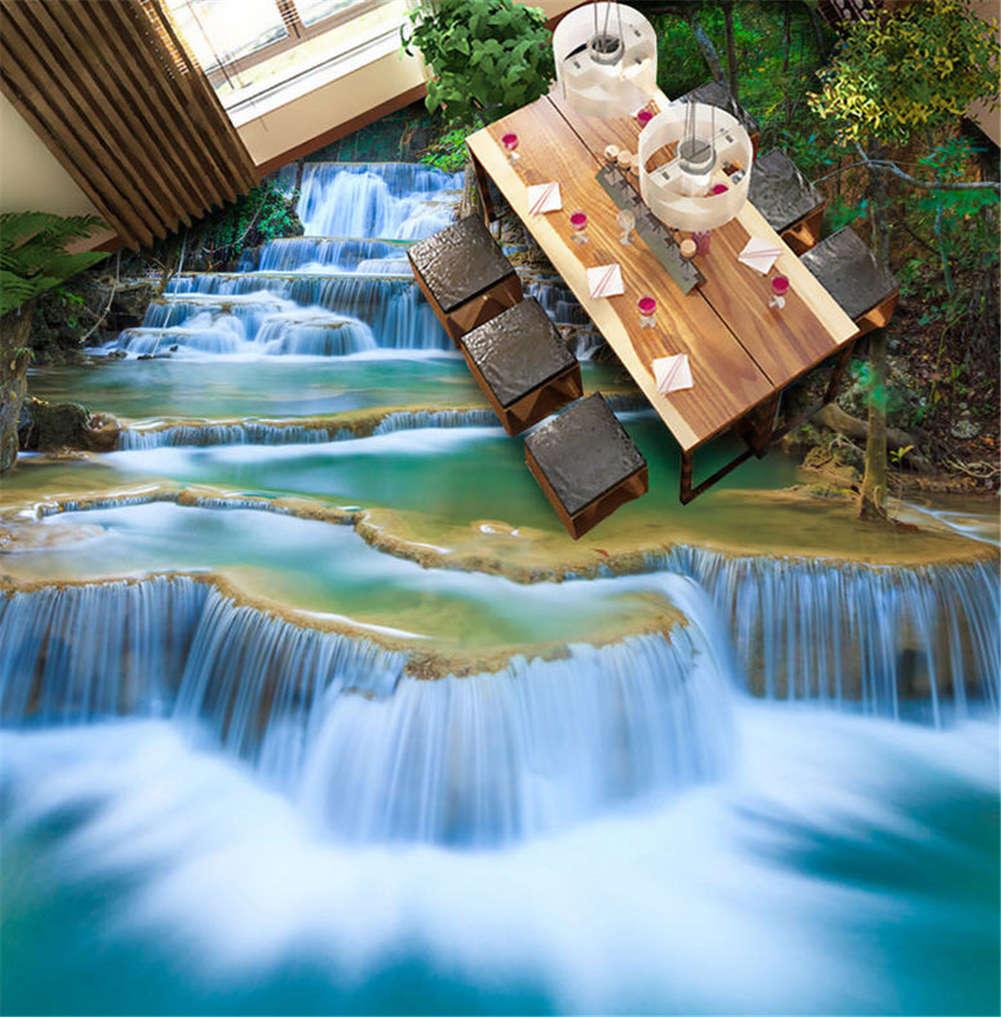 Majestic Waterfall 3D Floor Mural Photo Flooring Wallpaper Home Print Decoration