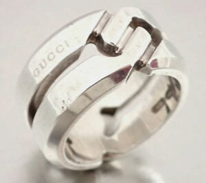81f2bb0289ff3 Details about Authentic Gucci **Wide & Heavy** Promise knot Sterling Silver  925 Ring Size US 4