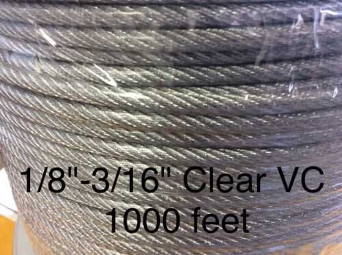 """Vinyl Coated Steel Aircraft Cable Wire Rope 1000/' 1//8/"""" VC 3//16/"""" 7x7 Clear"""