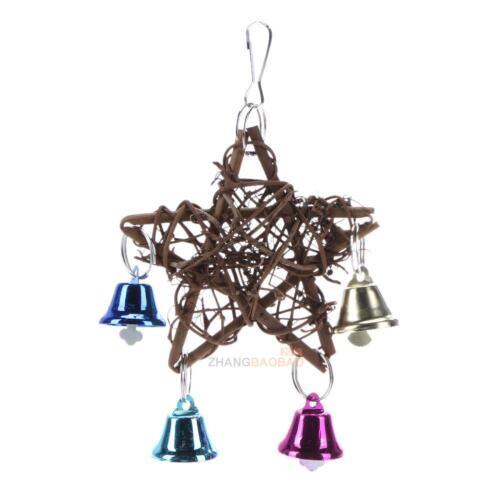 Pet Pentagram Star Rattan Bird Cage Toy Parrot Stand Holder w// Bells Wind Chime