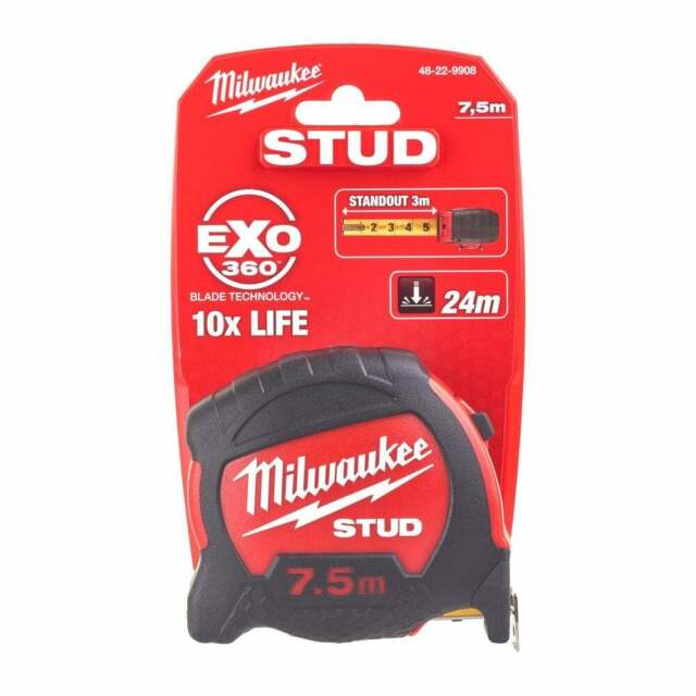 Metric Only Milwaukee Hand Tools STUD™ Tape Measure 7.5m Width 27mm