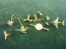 a pair of phone Cufflinks with 7 other things lapel pin tie pin badges