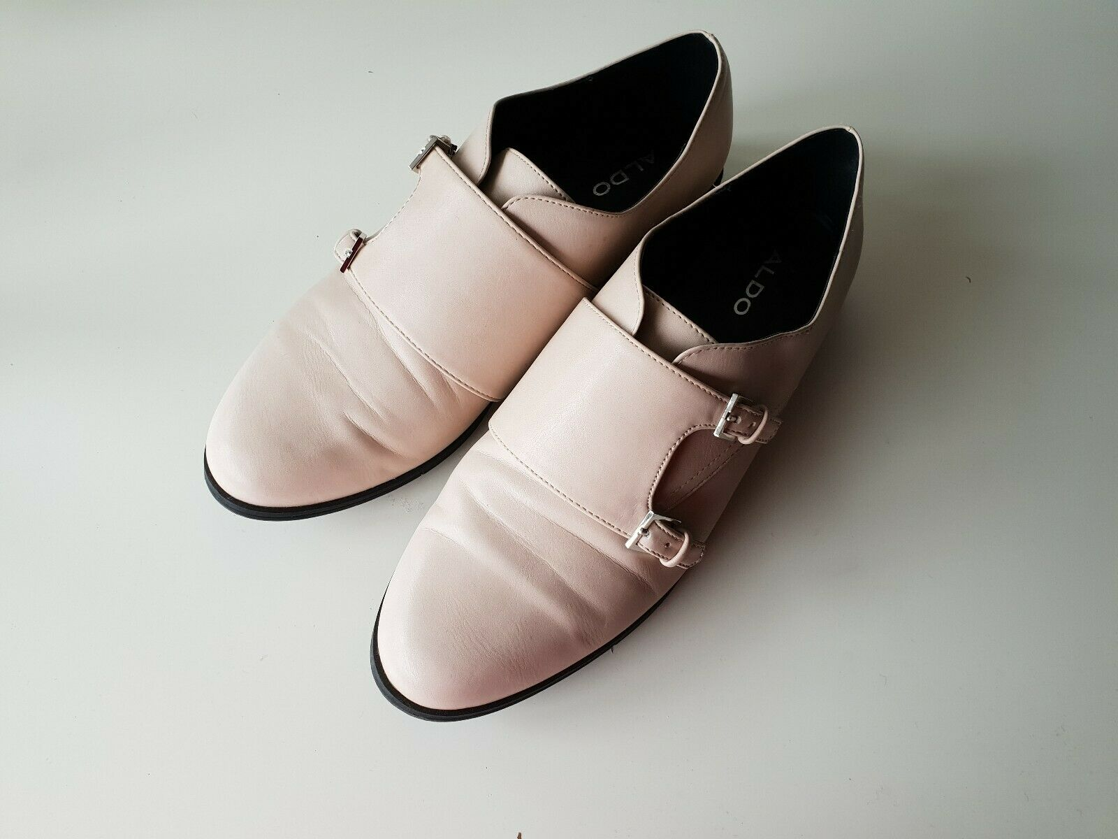 ALDO Womens 100% leather leather leather Monk Strap Pink Cream shoes Uk6 223e15