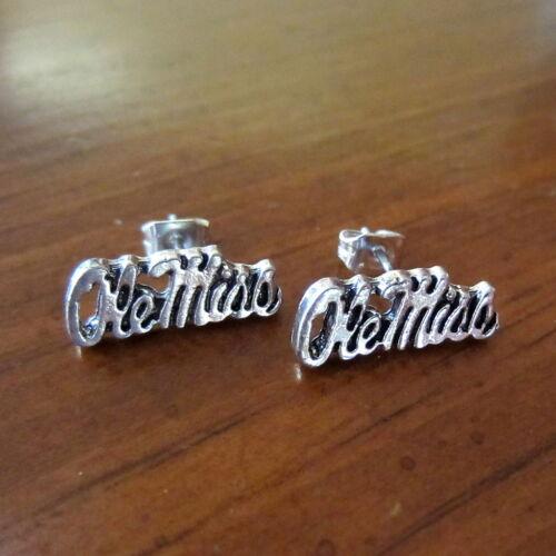 OLE MISS SILVER CHARM POST EARRINGS University of Mississippi Rebels fan jewelry