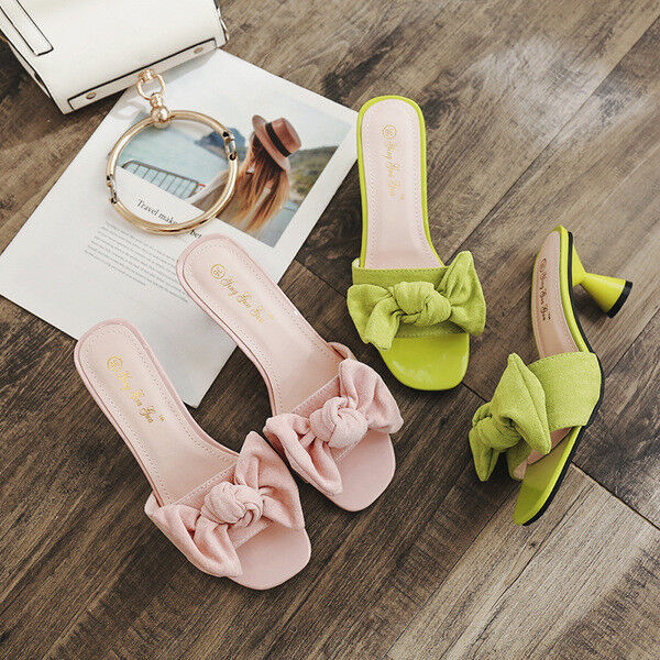 Sandalias de mujer zapatillas talón cuadrado verde rosa elegantes 5 cm cómodo