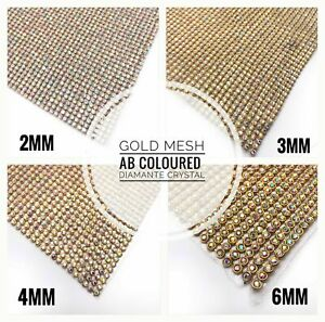 Iron-on-Chaton-Clear-Diamante-Transfer-Strips-Crystal-Gold-AB-Mesh-for-Wedding
