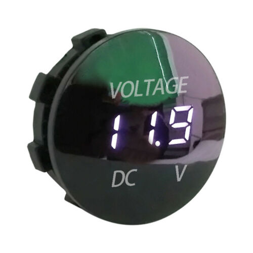 Mini round DC 12v-24v LED car boat digital display voltmeter meter 5colorHFPLU