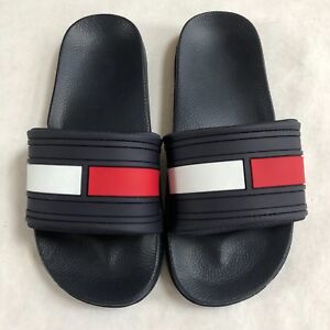 19c144fa39449 New Tommy Hilfiger Navy Blue Slides Sandals Flag Logo Kids Youth ...