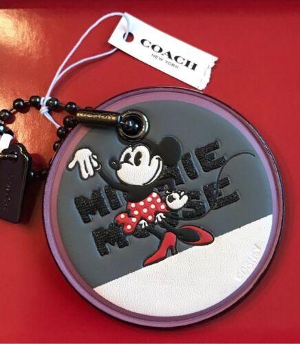 Minnie 39012b Chalk Nieuw in Coach Disney Gunmetal Miss X doos Hangtag Mouse Dark gbY7yf6