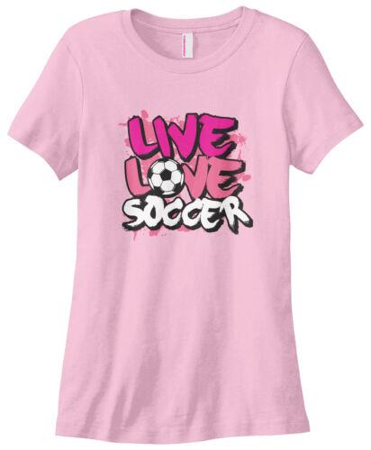 Threadrock Women/'s Live Love Soccer T-shirt Motto Saying Slogan