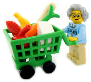 New Lego Grandma W Shopping Cart Minifig Lot Food Minifugre Apple Banana Bread Ebay