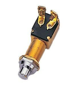 MARINE PUSH BUTTON SWITCH WITH CHROME PLATED BRASS NUT
