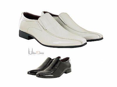 Para Hombre Formal Noche Boda de patentes Inteligente Sin Cordones Zapatos Blanco O Negro Talla 6-11