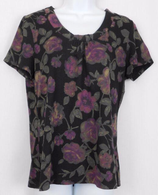 Croft Barrow Knit Top Size M Cotton Modal Floral Print Short Sleeve Shirt Womens