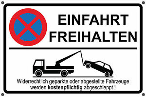 schild einfahrt freihalten parken verboten parkverbot. Black Bedroom Furniture Sets. Home Design Ideas