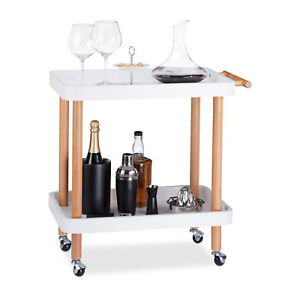Trolley-White-2-Shelves-Birch-Cart-Bar-Drinks-Cart-Tray-Trolley