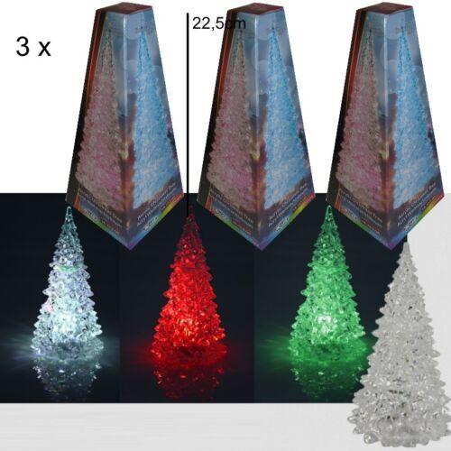 3 x LED Weihnachtsbaum 22,5cm mit Farbwechsler Christbaum Acryl Weihnachten