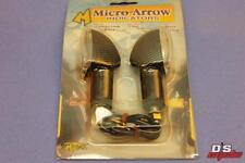 Pair Micro Arrow Motorcycle Scooter Indicators Long Stem Carbon Look//Amber New