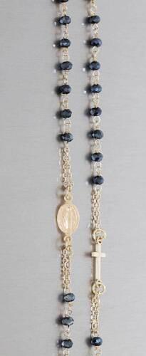 Rosario pulsera real plata 925 con perlas azules remolques cruz u hl María