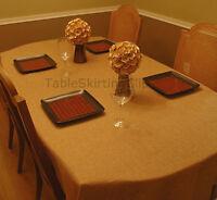 58 X 126 Designer Faux Burlap Tablecloth - Machine Washable Burlap Tablecloths